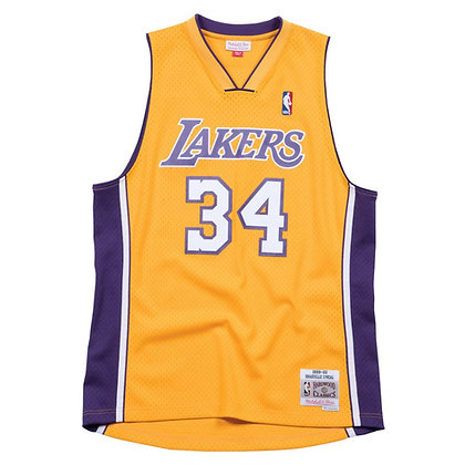 Men's LA Lakers Shaquille O'Neal 99-00 Gold HWC Mitchell & Ness Swingman