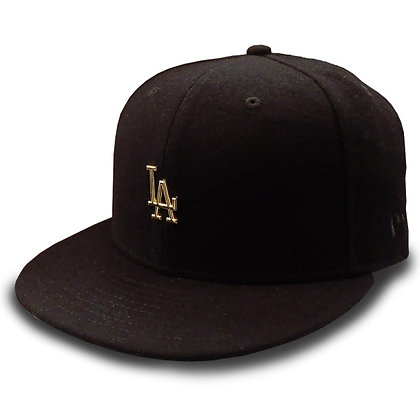 Men's LA Dodgers New Era Gold Metal Logo on Wool Black 9FIFTY Snapback