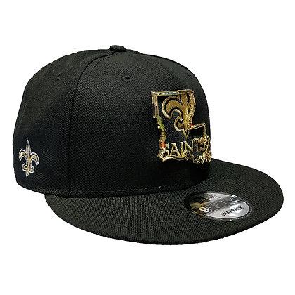 Men's New Orleans Saints New Era State Metal Framed 9FIFTY Black Snapba