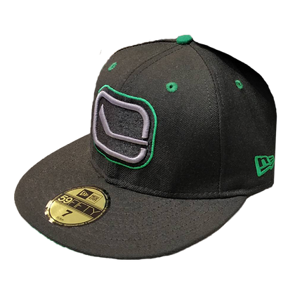 Men's Vancouver Canucks New Era Stick Logo Green on Black 59FIFTY Fitted hat