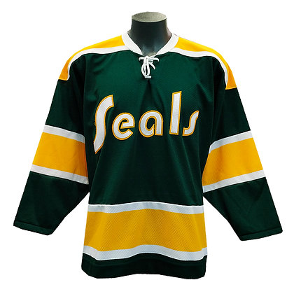 "Men's California Golden Seals ""SEALS"" logo CCM Vintage Green Jersey"