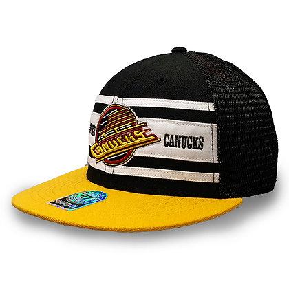 Men's Vancouver Canucks Skate Logo '47 Brand Black Yellow Mesh Back Snapback Hat