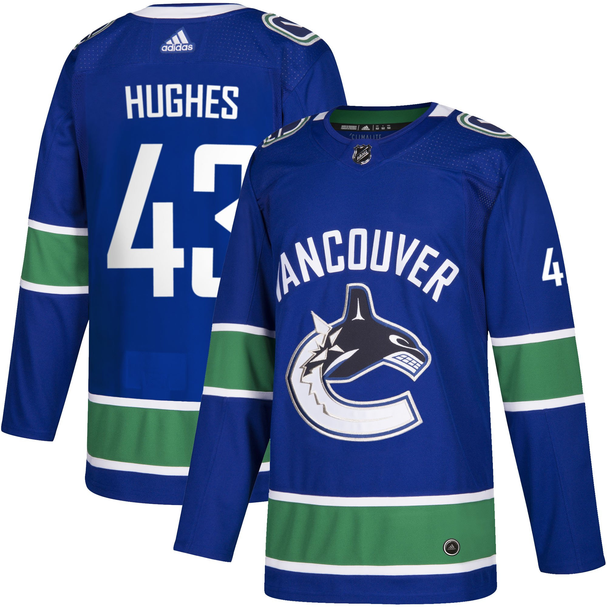 new product ef37a 03f4f Men's Vancouver Canucks Q. Hughes adidas adizero Blue Auth. Player Jersey