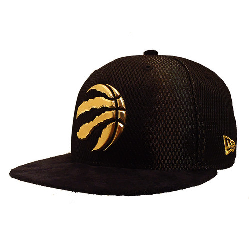 f0926718e67 MEN'S TORONTO RAPTORS NEW ERA ON COURT COLLECTION [GOLD LIQUID METAL ON  BLACK/ SUEDE VISOR] 59FIFTY FITTED HAT