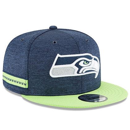 Men's Seattle Seahawks New Era Navy Green 2018 NFL Sideline Home 9FIFTY Snapback