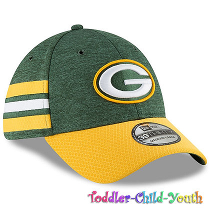 Kids Geen Bay Packers New Era Green/Yellow 2018 NFL Sideline Home 39THIRTY Hat