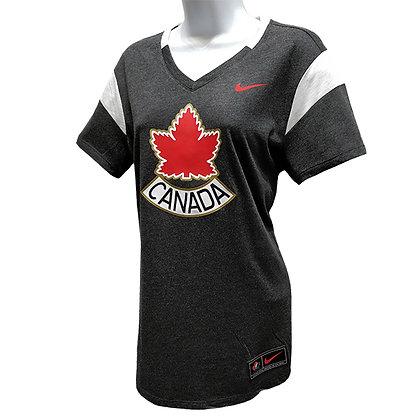 Women's Team Canada 2019 IIHF Alternate Logo Nike Tri-Blend Black T-Shirt