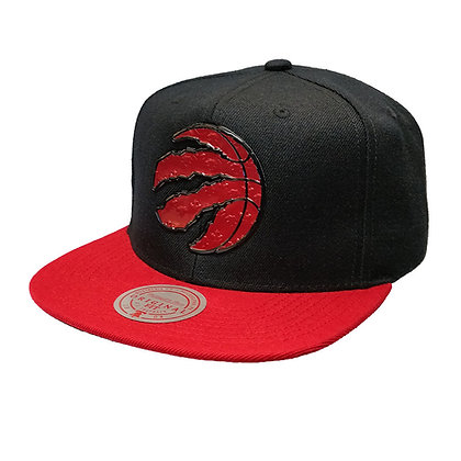 Men's Toronto Raptors Badge Logo Snapback Cap Black&Red Mitchell & Ness NBA