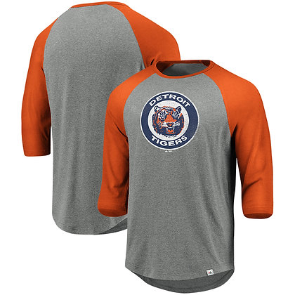 Detroit Tigers Majestic Cooperstown Collection Tri-Blend 3qt Sleeve T-Shirt