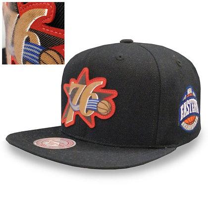 Men's Philadelphia 76ers Mitchell and Ness Silicon Grass Logo Snapback