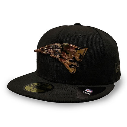 New England Patriots Metal Camou Logo New Era Black 59FIFTY Fitted Hat