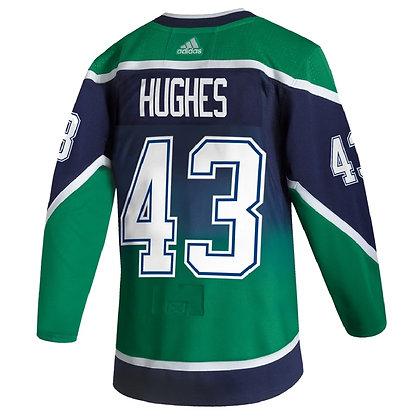Men's Vancouver Canucks Q. Hughes Reverse Retro adidas 20/21 Blue Jersey