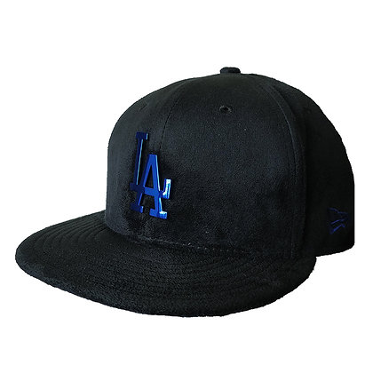 Men's LA Dodgers New Era Sueded Metal 9FIFTY Black Blue Snapback