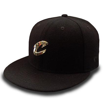 Men's Cleveland Cavaliers New Era Gold Liquid Metal Logo Wool Black 9FIFTY