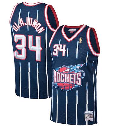 Men's Houston Rockets Hakeem Olajuwon Dark Blue 96-97 HWC Swingman Jersey