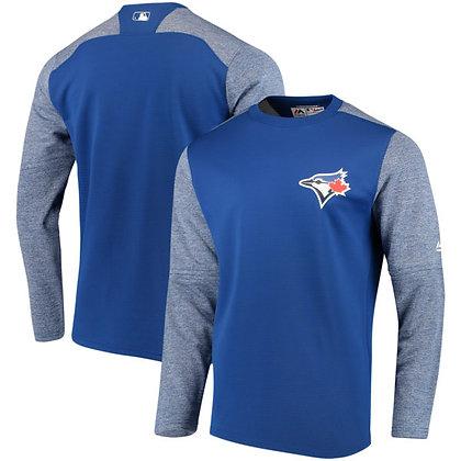 Men's Toronto Blue Jays Majestic Royal On-Field Tech Fleece Pullover Sweatshirt