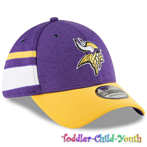 a8e3cd37 Kids Minnesota Vikings New Era Purple/Yellow 2018 NFL Sideline Home 39THIRTY  Fle