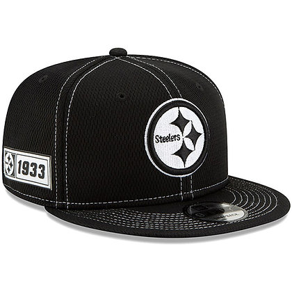Men's Pittsburgh Steelers New Era Black 2019 Sideline Road 9FIFTY Snapback