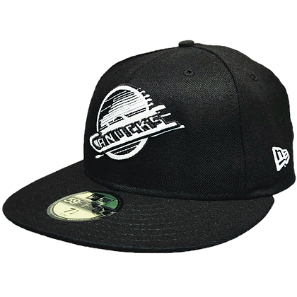 Men's Vancouver Canucks Skate White on Black New Era 59FIFTY Fitted Hat