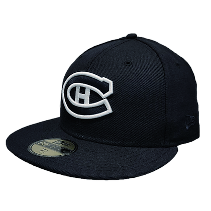 Montreal Canadiens Custom White on Dark Navy 59fifty fitted hat