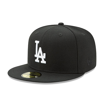 Men's LA Dodgers New Era White Logo on Black 59FIFTY Fitted Hat