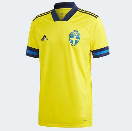 Men's Sweden Home adidas Euro 2020 Blank Jersey