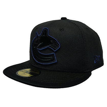 Men's Vancouver Canucks Suede Logo/ Navy Trim Black New Era 59FIFTY Fitted Hat