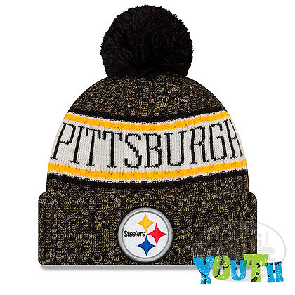 Youth Pittsburgh Steelers New Era 2018 NFL Sideline Cold Weather Knit Hat