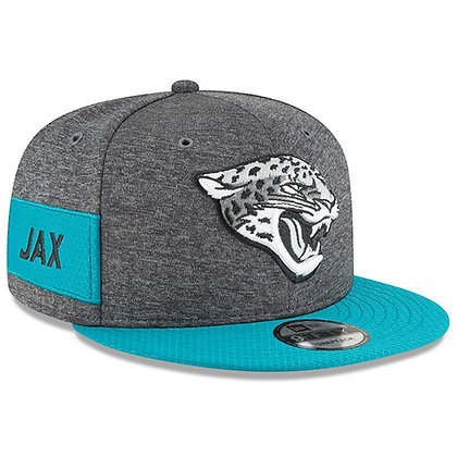 Men's Jacksonville Jaguars New Era Teal 2018 NFL Sideline Graphite 9FIFTY Snapba