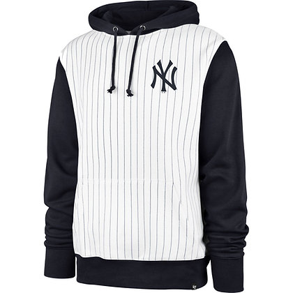 Men's New York Yankees '47 Brand White Pinstripe Headline Pullover Hoodie