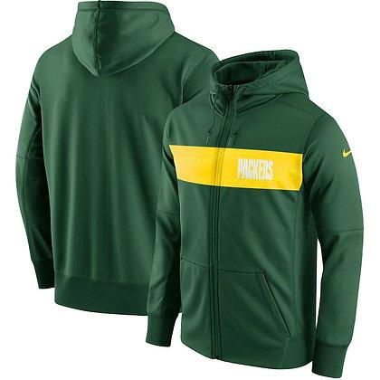 Men's Green Bay Packers Nike Green Team Sideline Full-Zip Performance