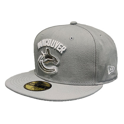 Men's Vancouver Canucks Light Grey/ White New Era 59FIFTY Fitted Hat