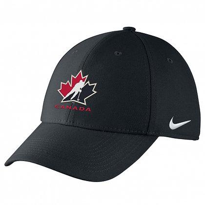 Team Canada 2019 IIHF WJC Nike DRI-FIT Black Swoosh flex Hat