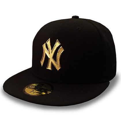 New York Yankees Golden Finish Logo New Era Black 59FIFTY Fitted Hat