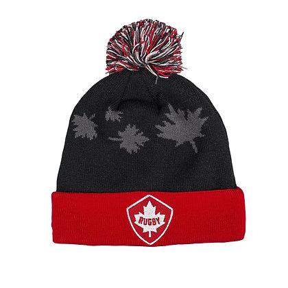 Rugby Canada Canterbury Fleece Black Red Cuff Pom Beanie / Toque