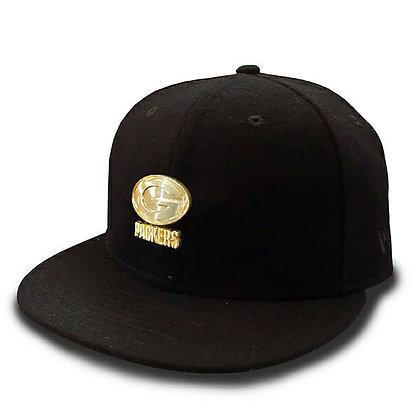 Men's Green Bay Packers New Era Gold Metal Logo on Wool Black 9FIFTY Snap
