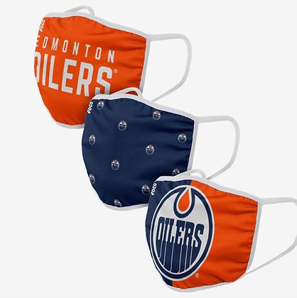 Edmonton Oilers 3 PACK FACE MASKS (Adult)