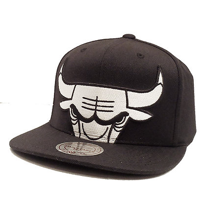 Men's Chicago Bulls Mitchell and Ness XL White Logo Cropped Snapback