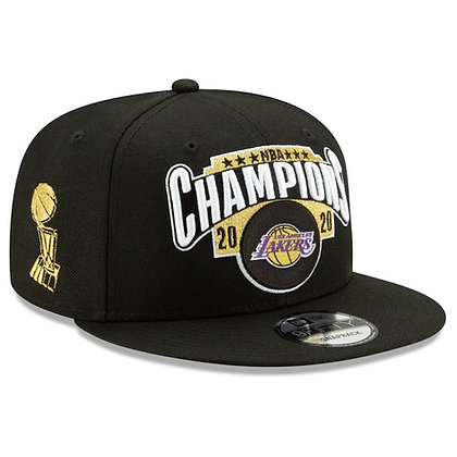 Men's LA Lakers New Era Black 2020 NBA Champions Locker Room 9FIFTY Snapback
