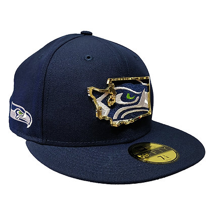 Men's Seattle Seahawks State Metal Framed New Era Navy 59FIFTY Fitted Hat