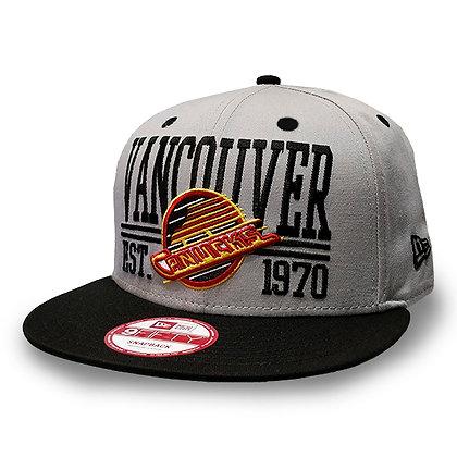 Men's Vancouver Canucks Skate Logo New Era Grey / Black 9FIFTY Snapback Hat