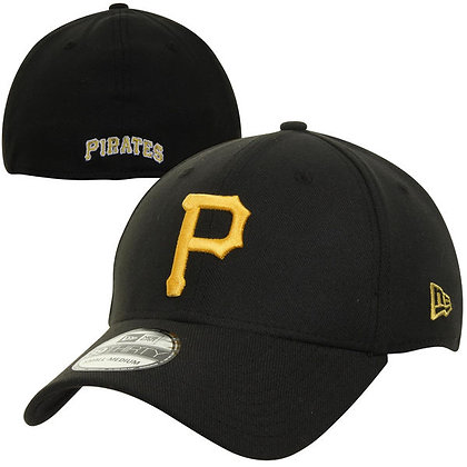 Pittsburgh Pirates New Era Yellow Logo on Black 39THIRTY Flex Hat