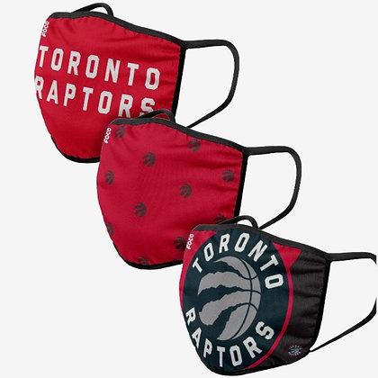 Toronto Raptors 3 PACK FACE MASKS (Adult)