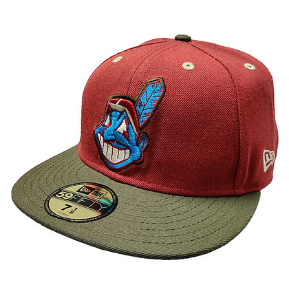 Men's Cleveland Indians Chief Wahoo Dark Coral Red/ Taupe  59FIFTY Fitted Hat