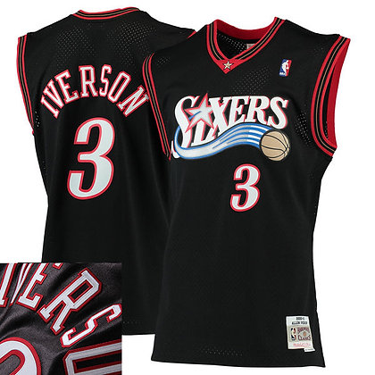 Men's Philadelphia 76ers Allen Iverson Black 2000-1 HWC Mitchell & Ness Swingma