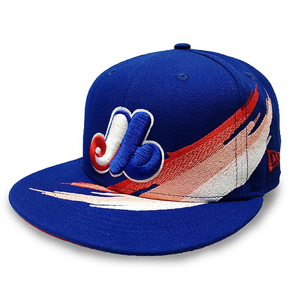 Men's Montreal Expos Brush Collection New Era 9FIFTY Royal Blue Snapback Hat