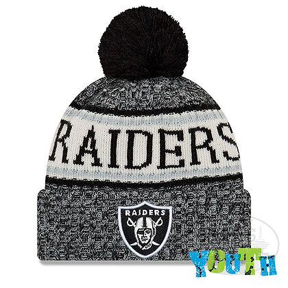 Youth Oakland Raiders New Era 2018 NFL Sideline Cold Weather Knit Hat