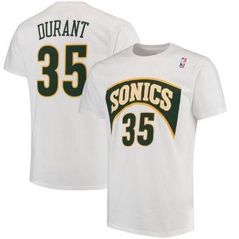 Men's Seattle SuperSonics Kevin Durant HWC Mitchell & Ness White T-Shirt