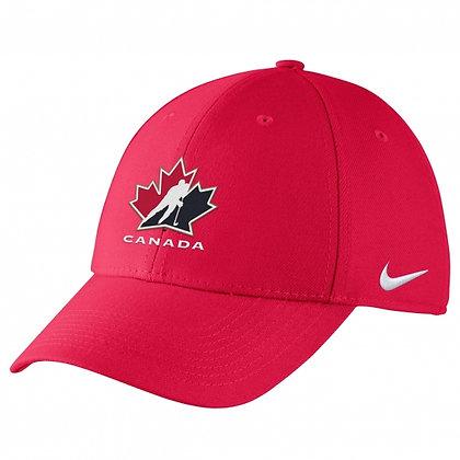 Team Canada 2019 IIHF WJC Nike DRI-FIT Red Swoosh flex Hat