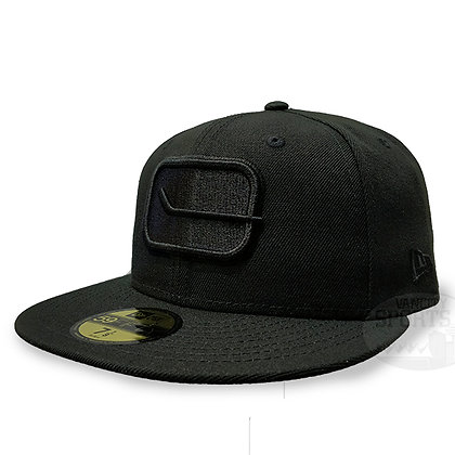 Men's Vancouver Canucks Stick Logo New Era Black on Black 59FIFTY Fitted hat